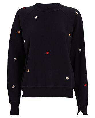 The College Floral Embroidery Sweatshirt, NAVY, hi-res