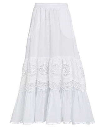 Marga Lace-Trimmed Cotton Skirt, WHITE, hi-res