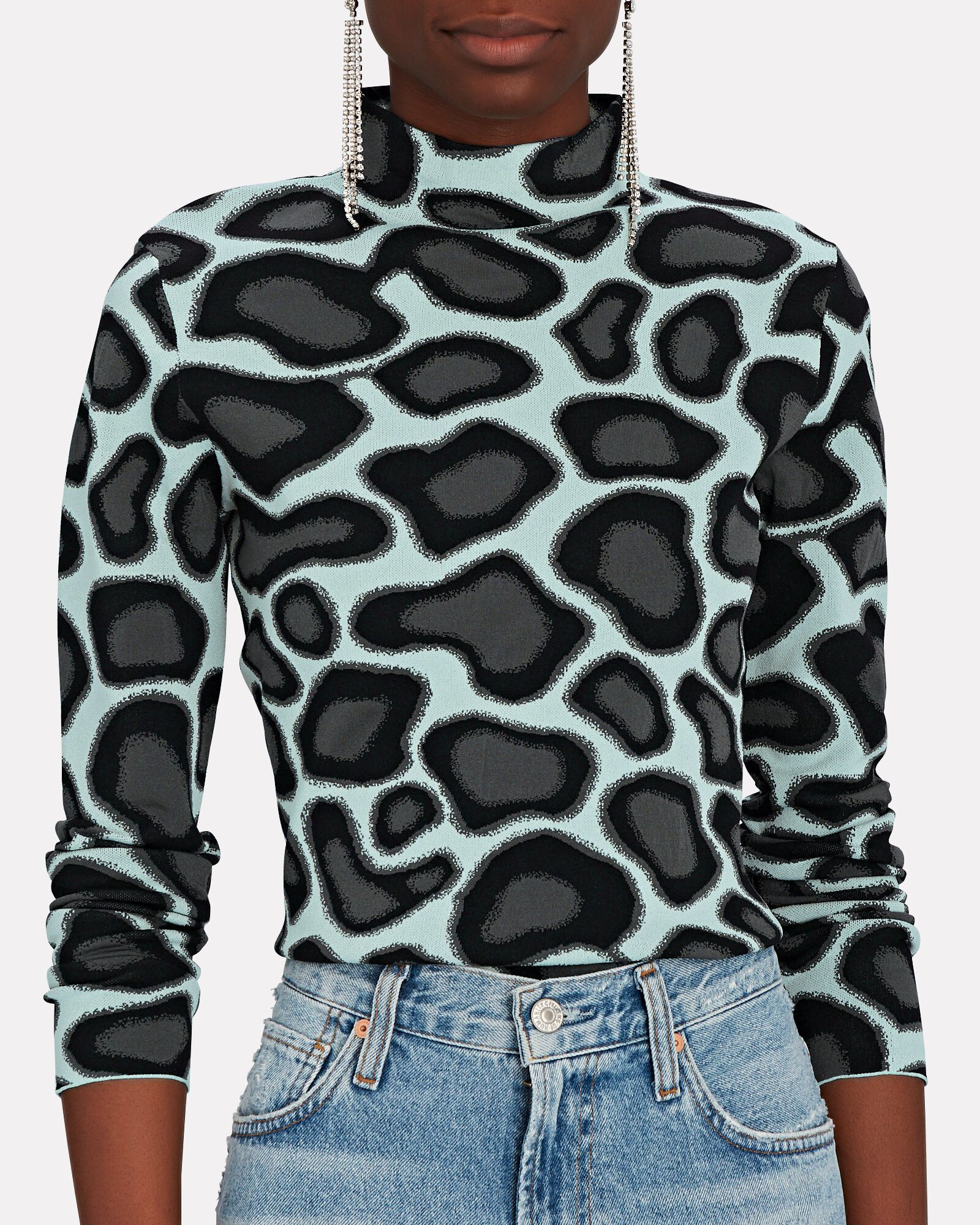 Abstract Animal Knit Jacquard Sweater, MULTI, hi-res