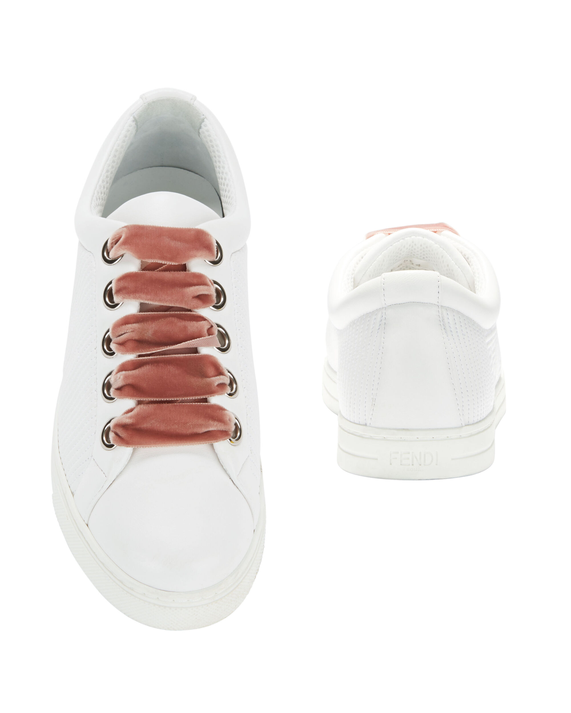 Pink Velvet Lace-Up Sneakers, WHITE, hi-res