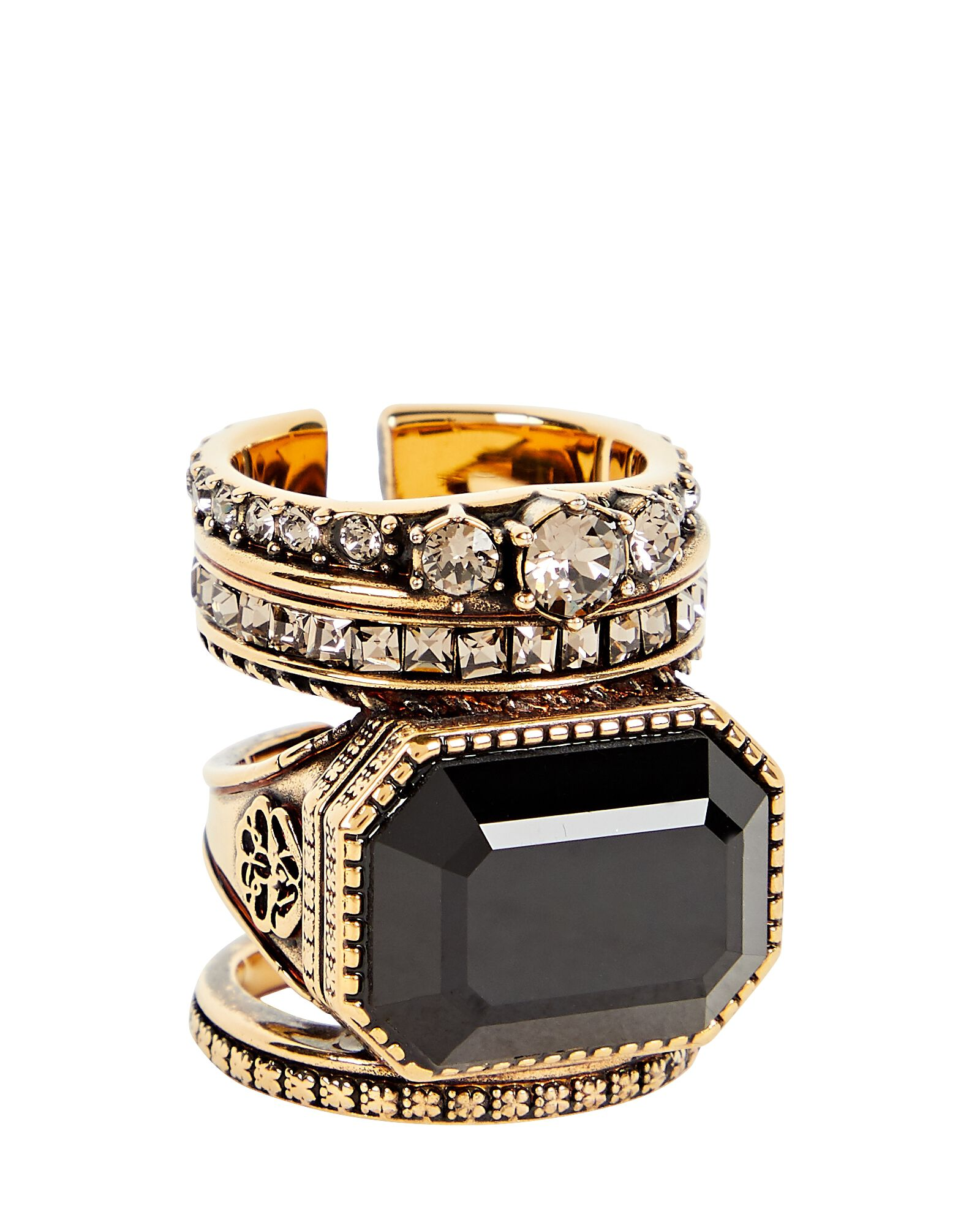 Jewelled Stacked Ring, GOLD, hi-res