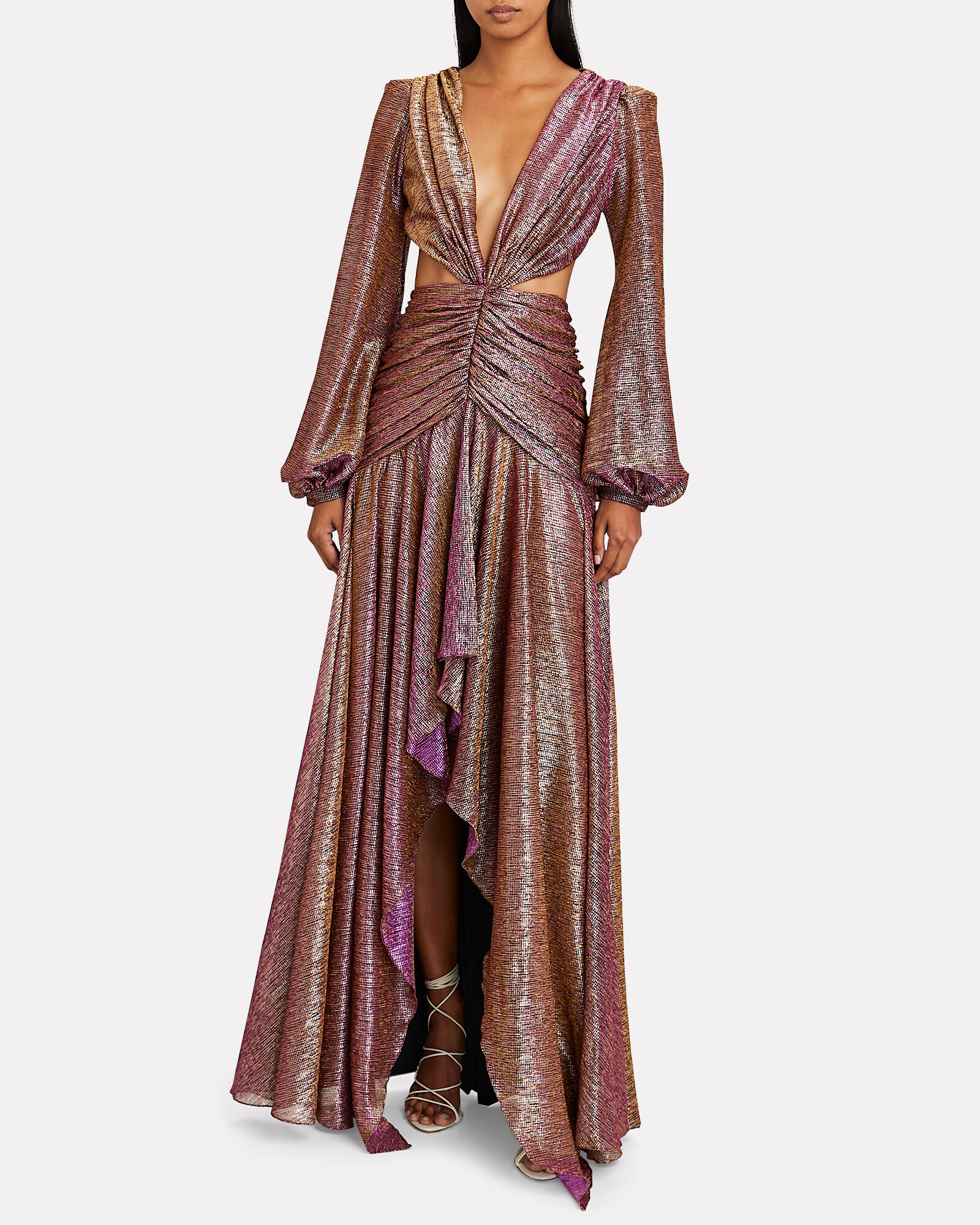 Metallic Cut-Out Gown, PINK, hi-res