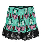 Lace-Trimmed Printed Shorts, TURQUOISE, hi-res
