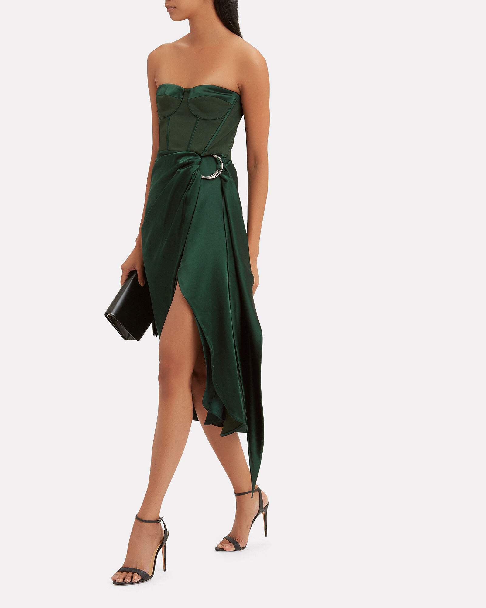 Strapless Bustier Midi Dress, FOREST GREEN/NAVY, hi-res