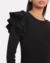 Segrist Ruffled Shoulder T-Shirt, BLACK, hi-res