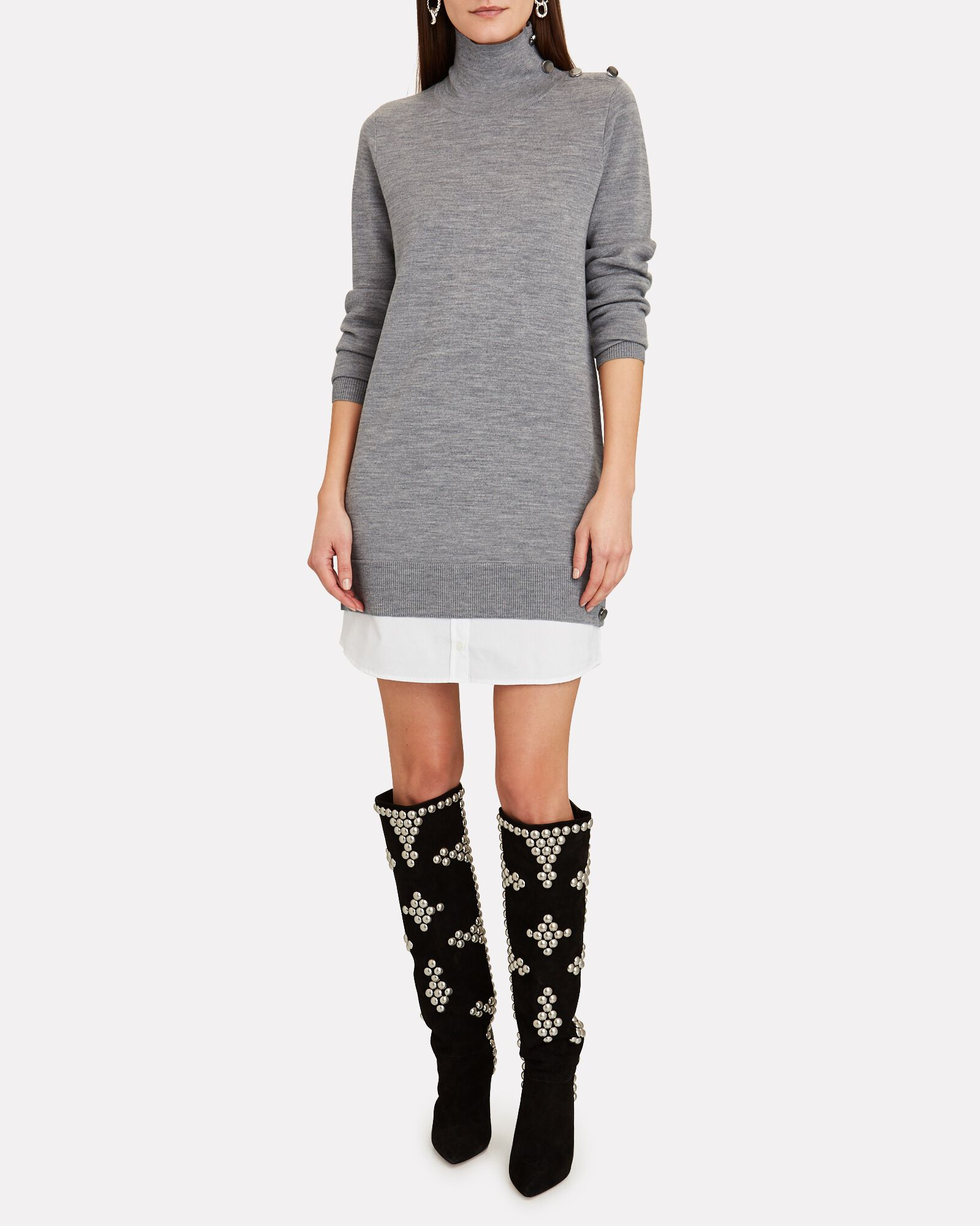 Soval Layered Sweater Dress, GREY, hi-res