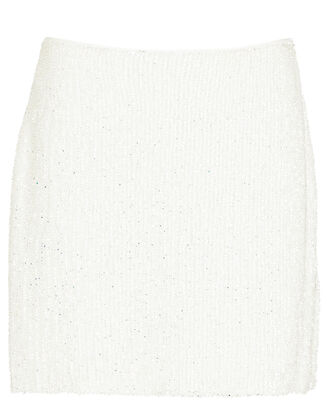 Frances Sequin Mini Skirt, WHITE, hi-res