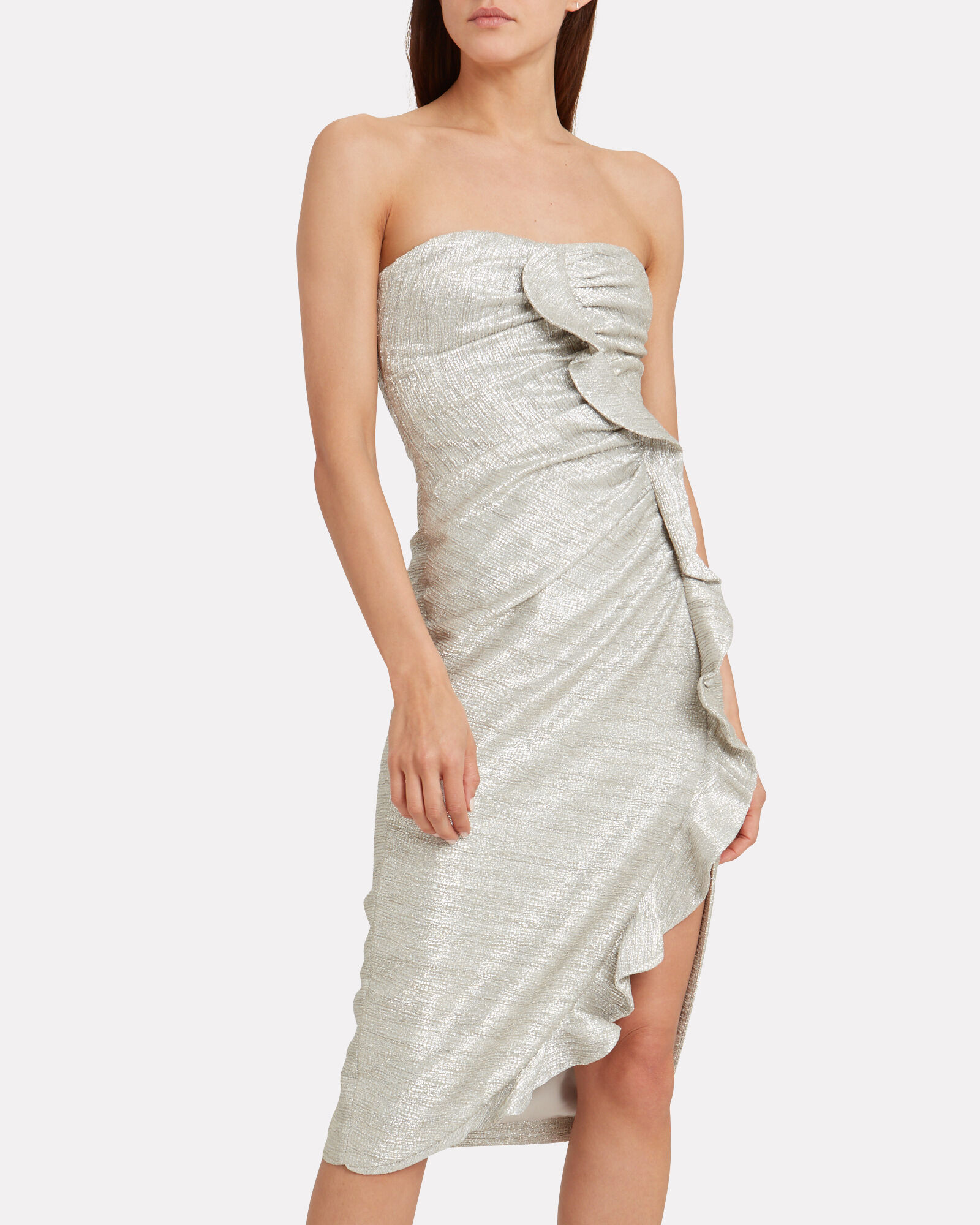Gathered Bustier Dress, SILVER, hi-res