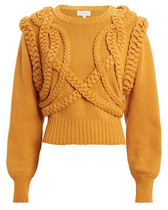 Yeva Cable Knit Sweater, MARIGOLD, hi-res