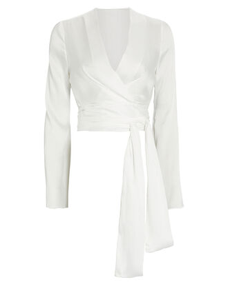 Corolle Crepe Wrap Top, WHITE, hi-res