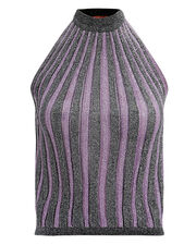 Pleated Mock Neck Top, PURPLE/SILVER, hi-res