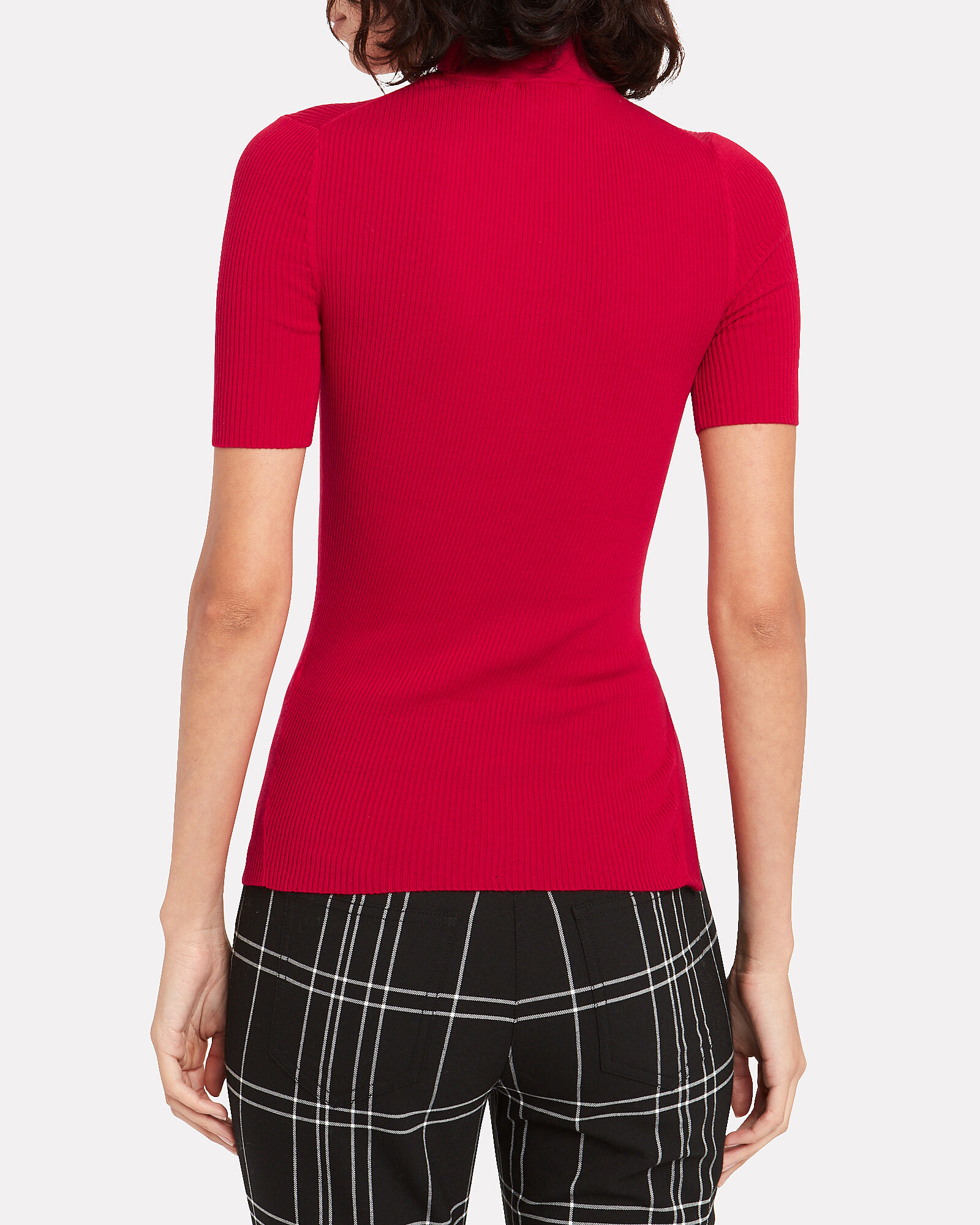 Ribbed Cotton Mock Neck Top, RED, hi-res