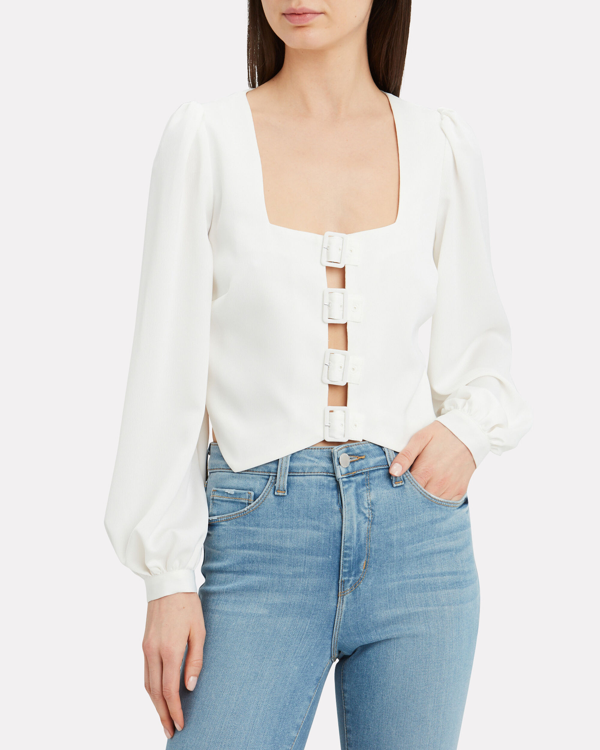 Fable Buckle Blouse, WHITE, hi-res