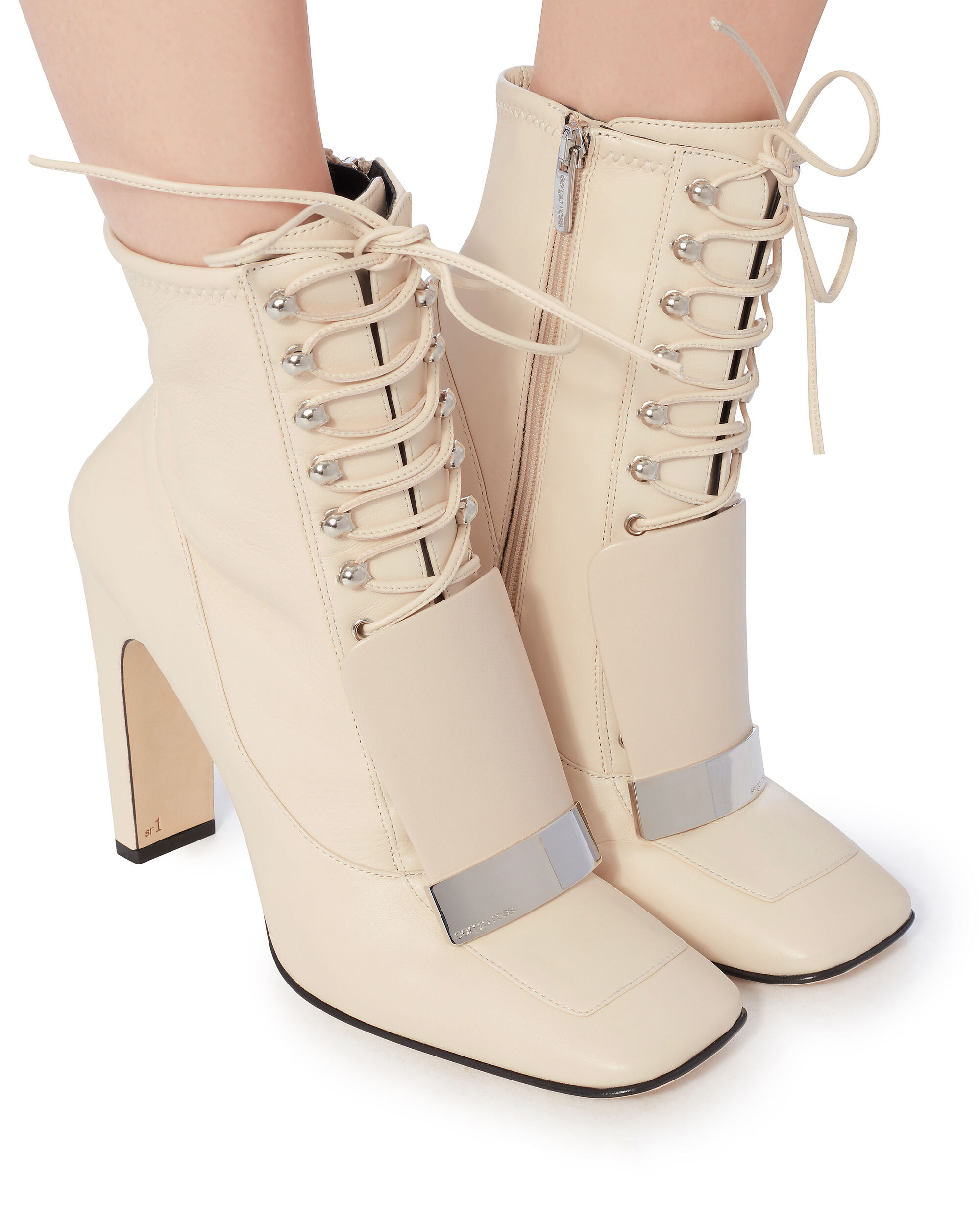 Buckled Front Flap Lace-Up Booties, WHITE, hi-res