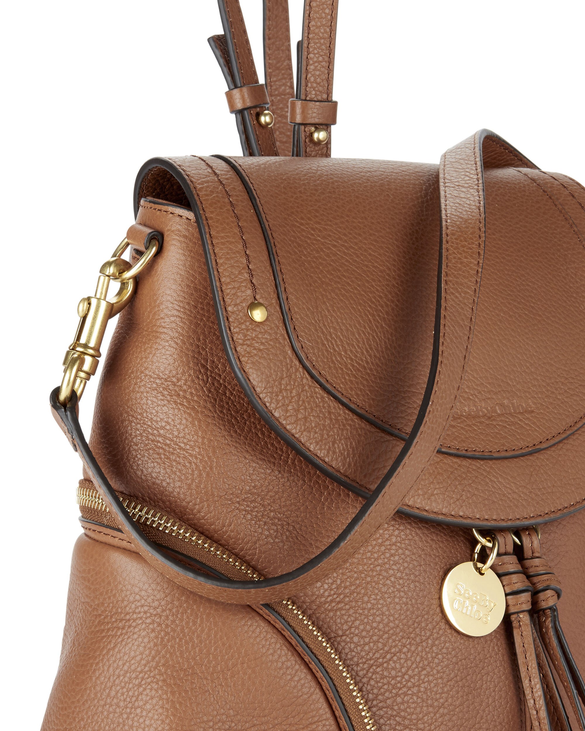 Double Gold Zip Leather Backpack, BROWN, hi-res