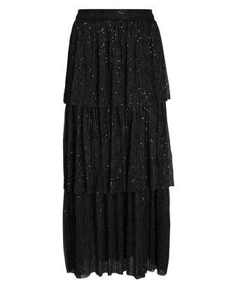 Crystal Tiered Plissé Midi Skirt, BLACK, hi-res
