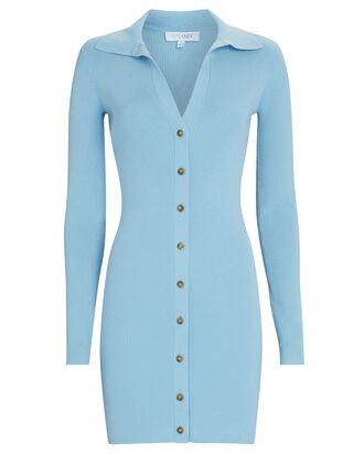 Samira Rib Knit Polo Mini Dress, BLUE-LT, hi-res
