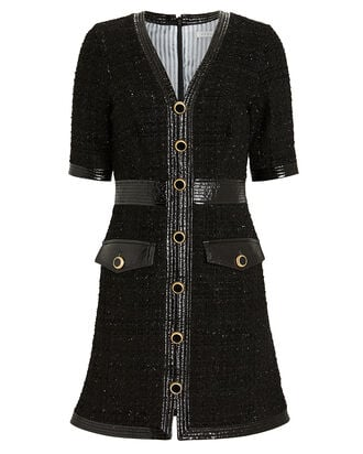 Simona Vegan Leather-Trimmed Tweed Dress, BLACK, hi-res