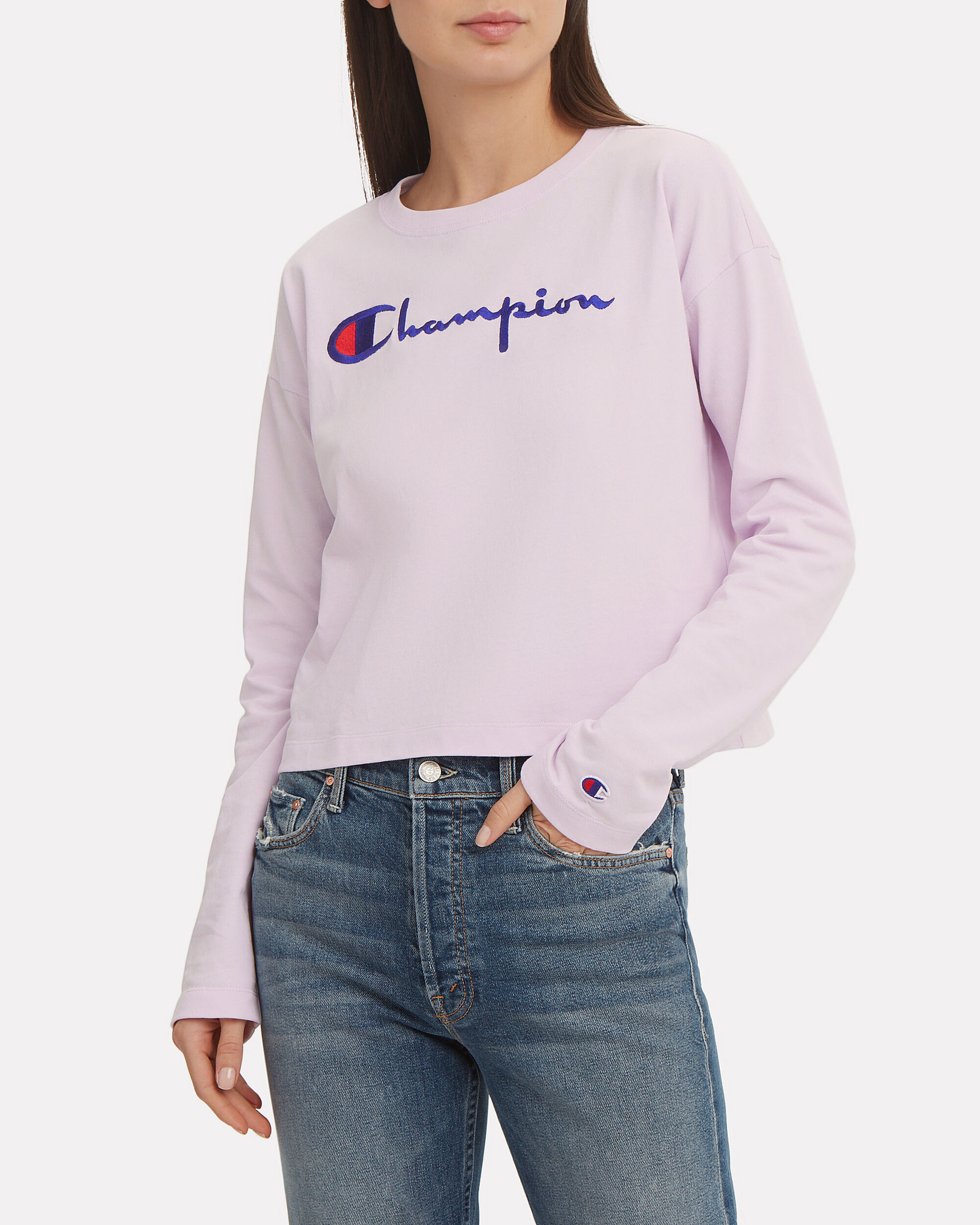 Logo Crop Top, LAVENDER, hi-res