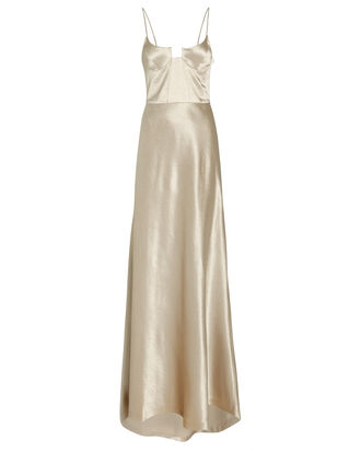 Phoebe Satin Bustier Gown, SILVER, hi-res