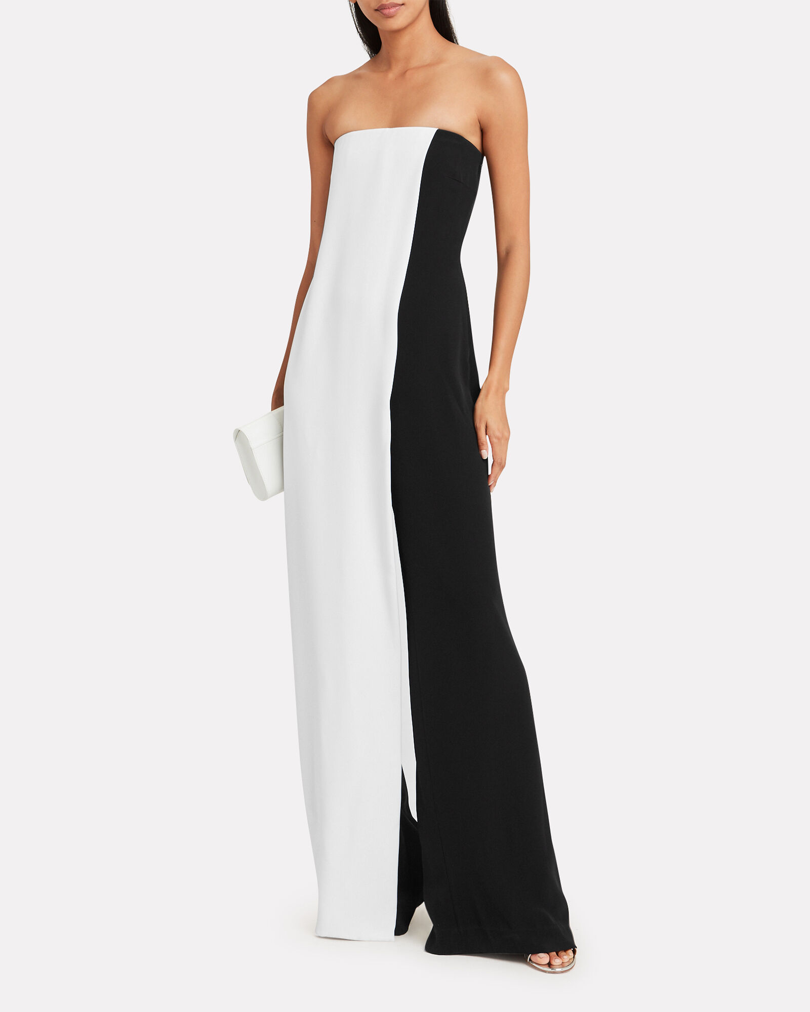 Colorblocked Strapless Silk Crepe Jumpsuit, BLACK/WHITE, hi-res