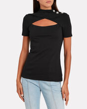 Embellished Mock Neck Cotton T-Shirt, BLACK, hi-res