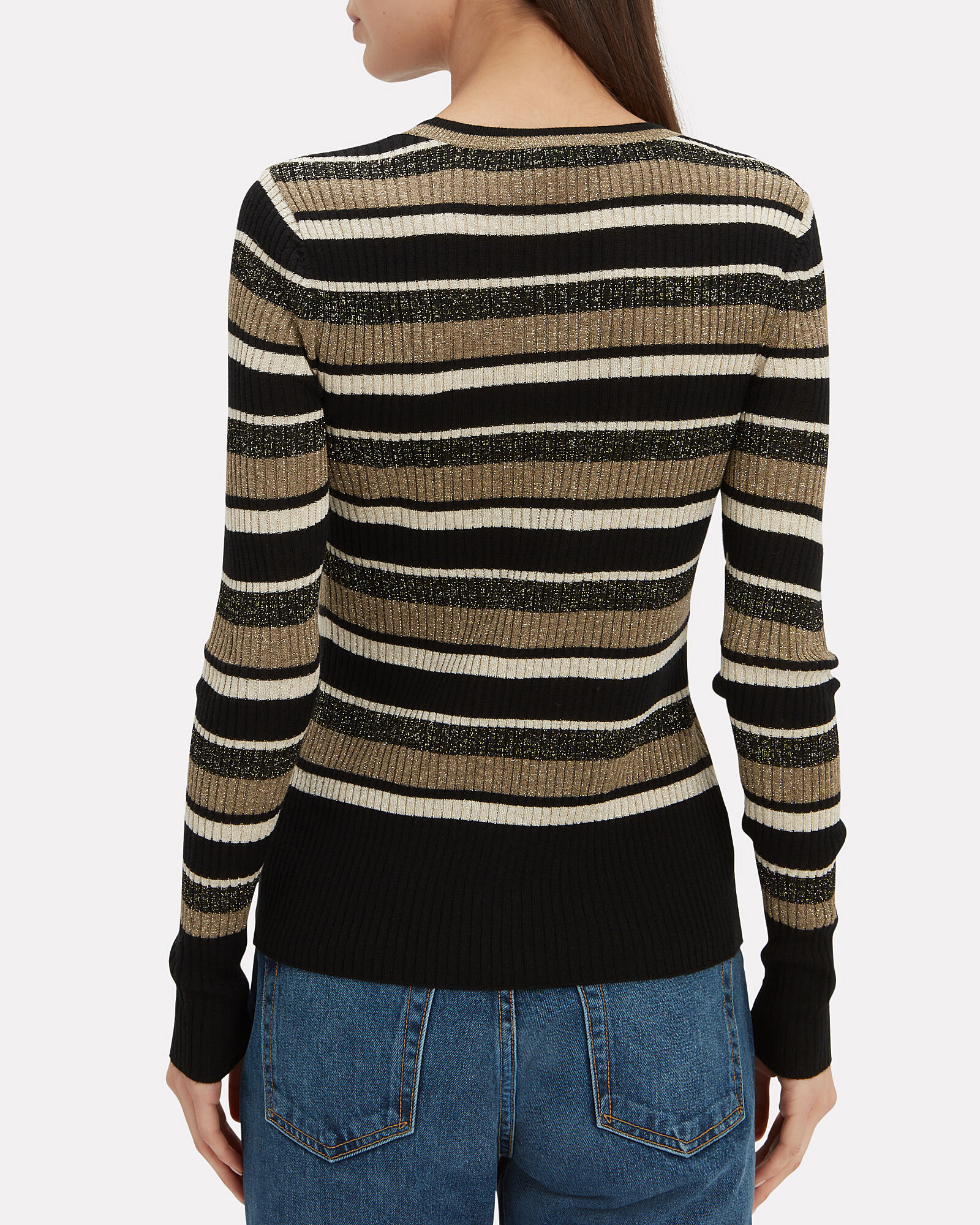 Panel Striped Ribbed Top, BLACK/GOLD, hi-res