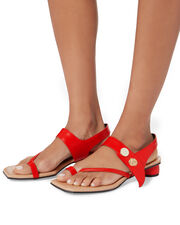 Embellished Flat Sandals, RED, hi-res