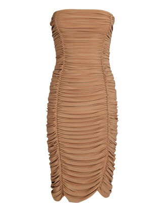 Slinky Ruched Strapless Dress, BEIGE, hi-res