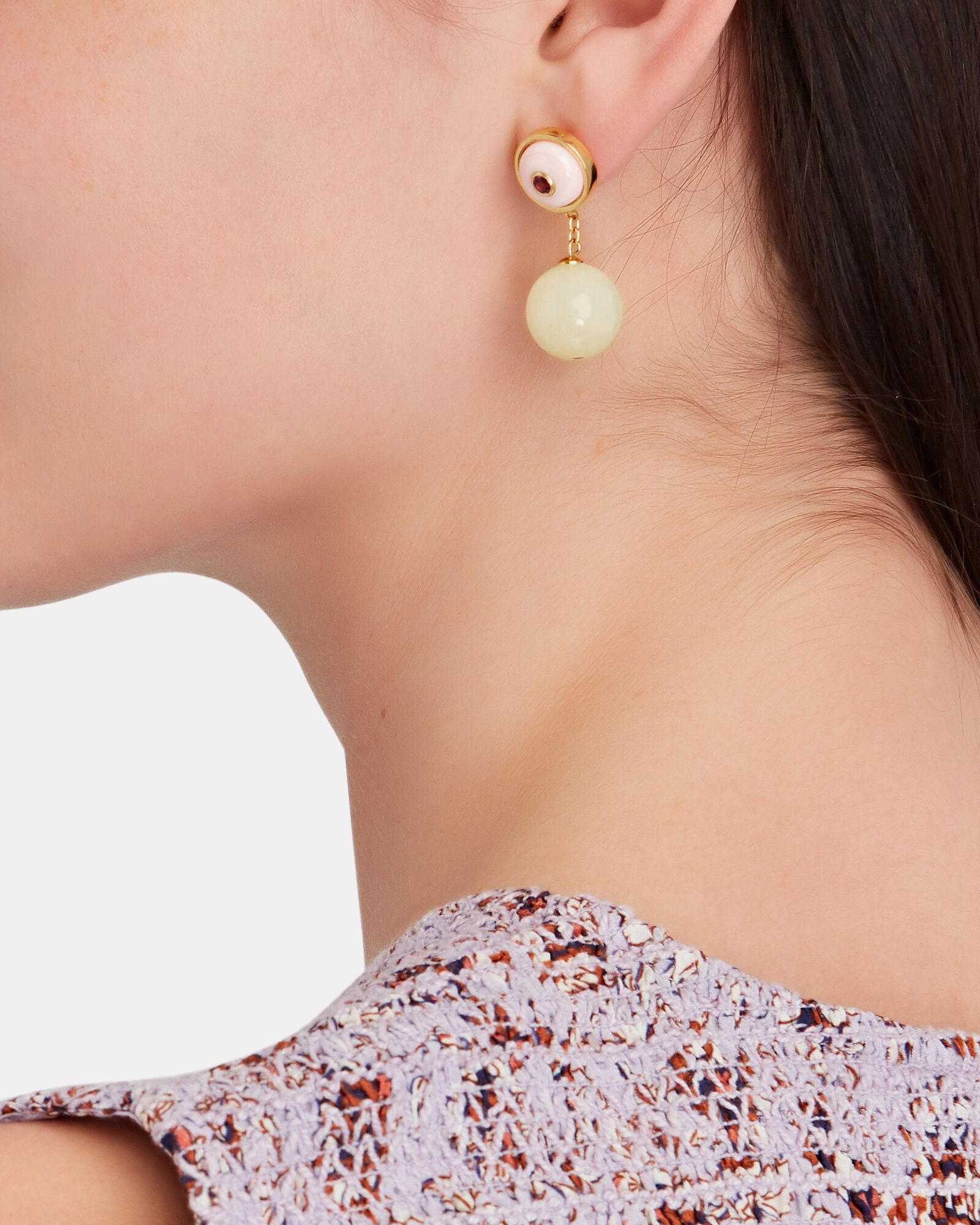 Yolo Conch Drop Earrings, PINK/IVORY, hi-res