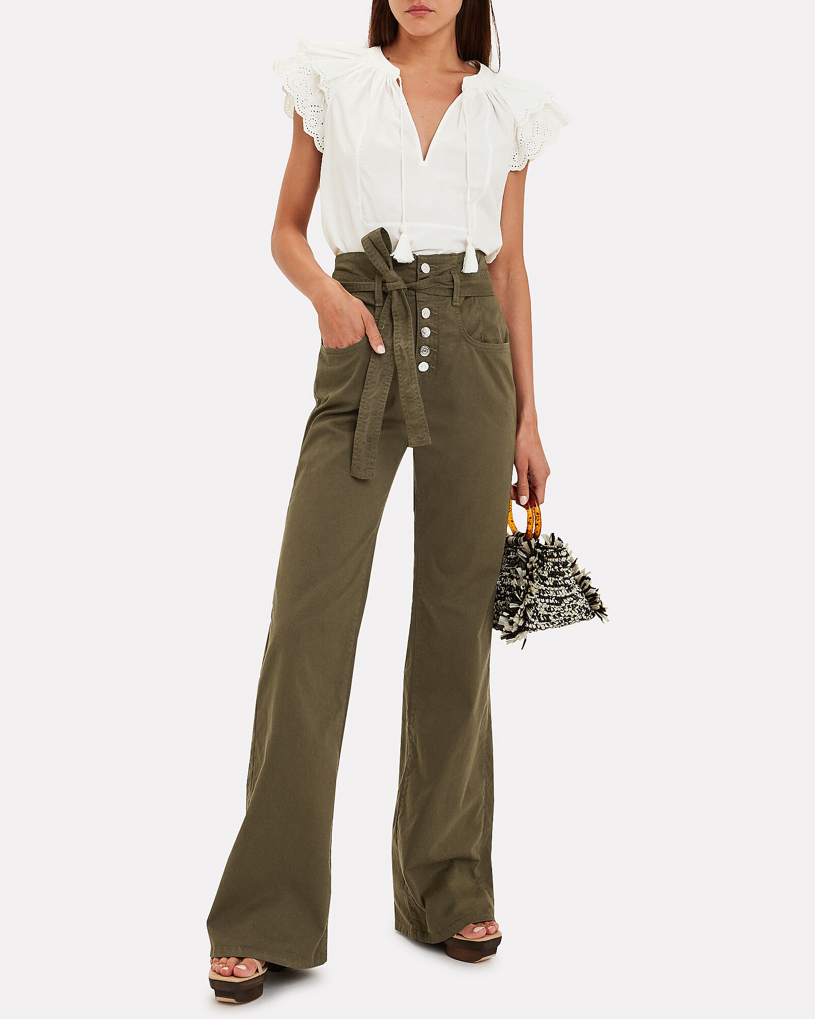 Rosanna Wide Leg Denim Pants, OLIVE/ARMY, hi-res