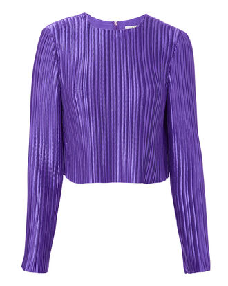 Pleated Crop Top, PURPLE, hi-res