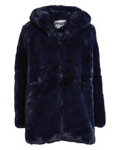 Marie Hooded Faux Fur Coat, NAVY, hi-res