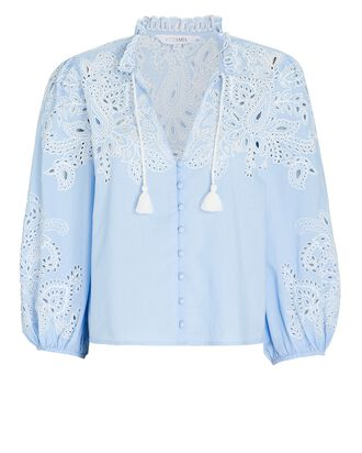 Lilia Embroidered Cotton Eyelet Blouse, BLUE, hi-res