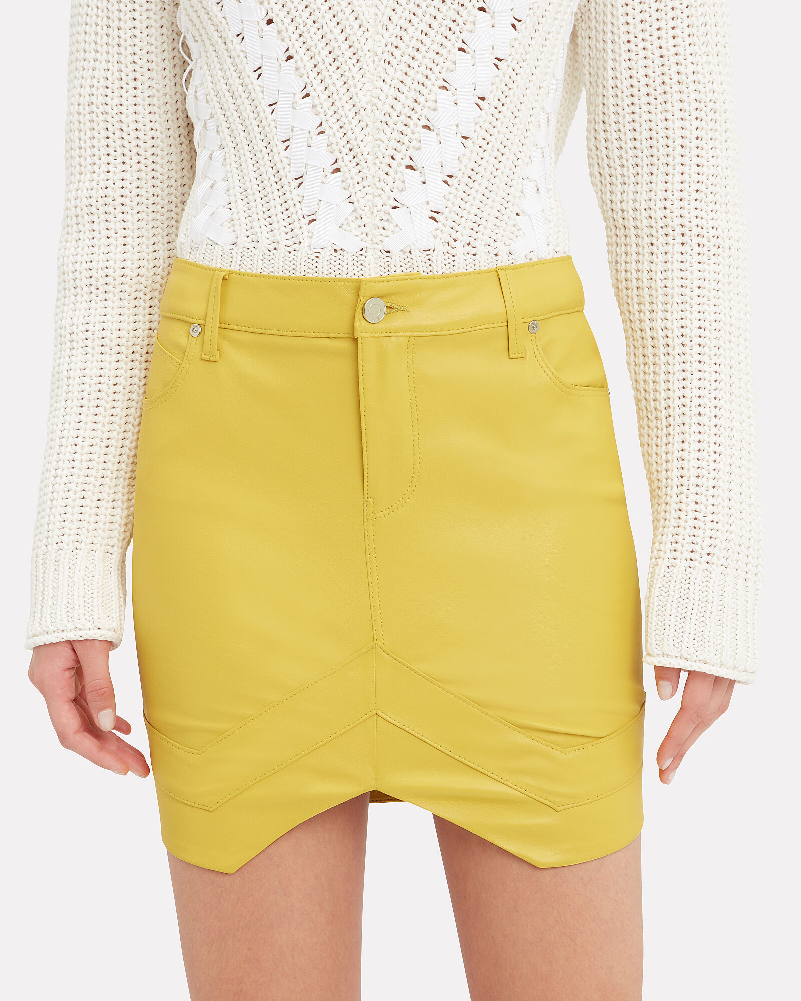 Tempest Leather Mini Skirt, YELLOW, hi-res