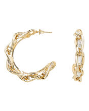 Braided Crystal Hoops, GOLD, hi-res