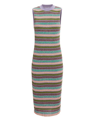 Metallic Striped Dress, PURPLE/GREEN STRIPE, hi-res