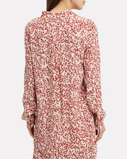 Printed Crepe Button Down Top, MULTI, hi-res