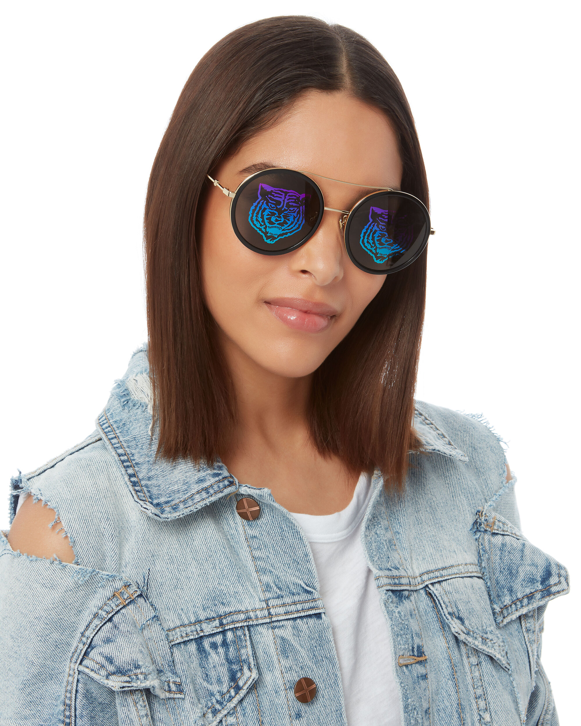 Hologram Circle Sunglasses, GOLD, hi-res