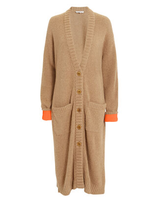 Contrast Cuff Long Cardigan, BROWN/ORANGE, hi-res