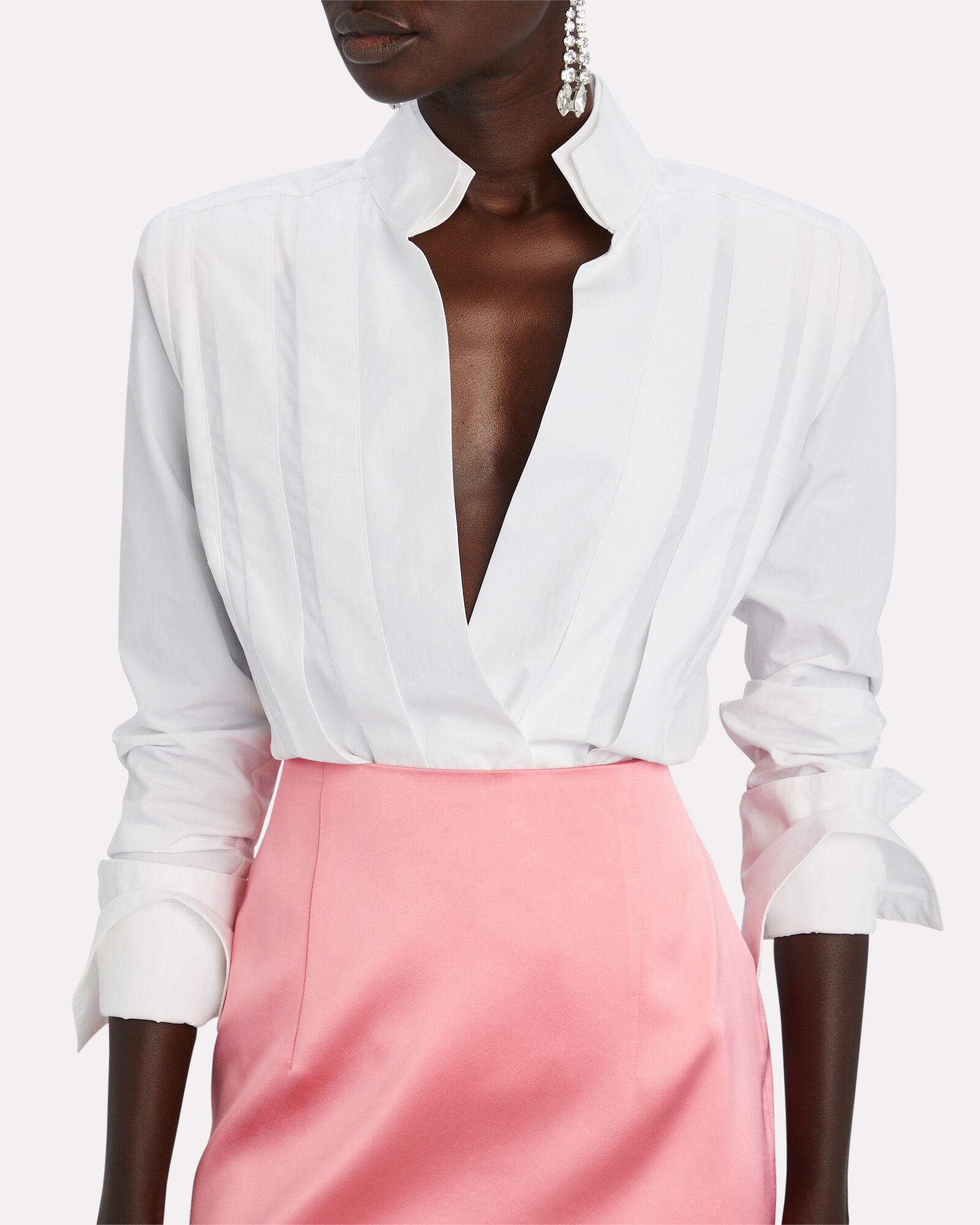 Crete Pleated Poplin Wrap Shirt, WHITE, hi-res