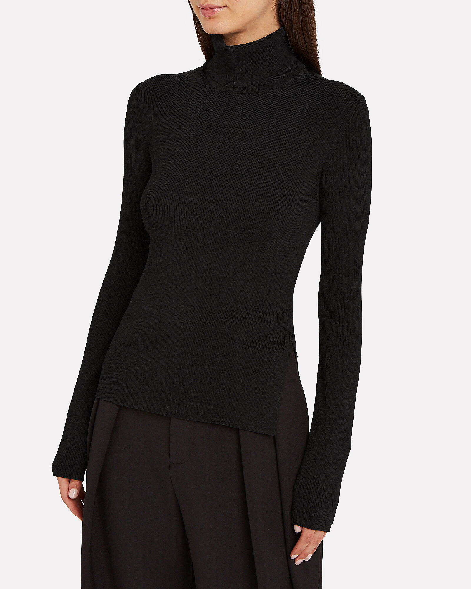 Rib Knit Turtleneck Top, BLACK, hi-res