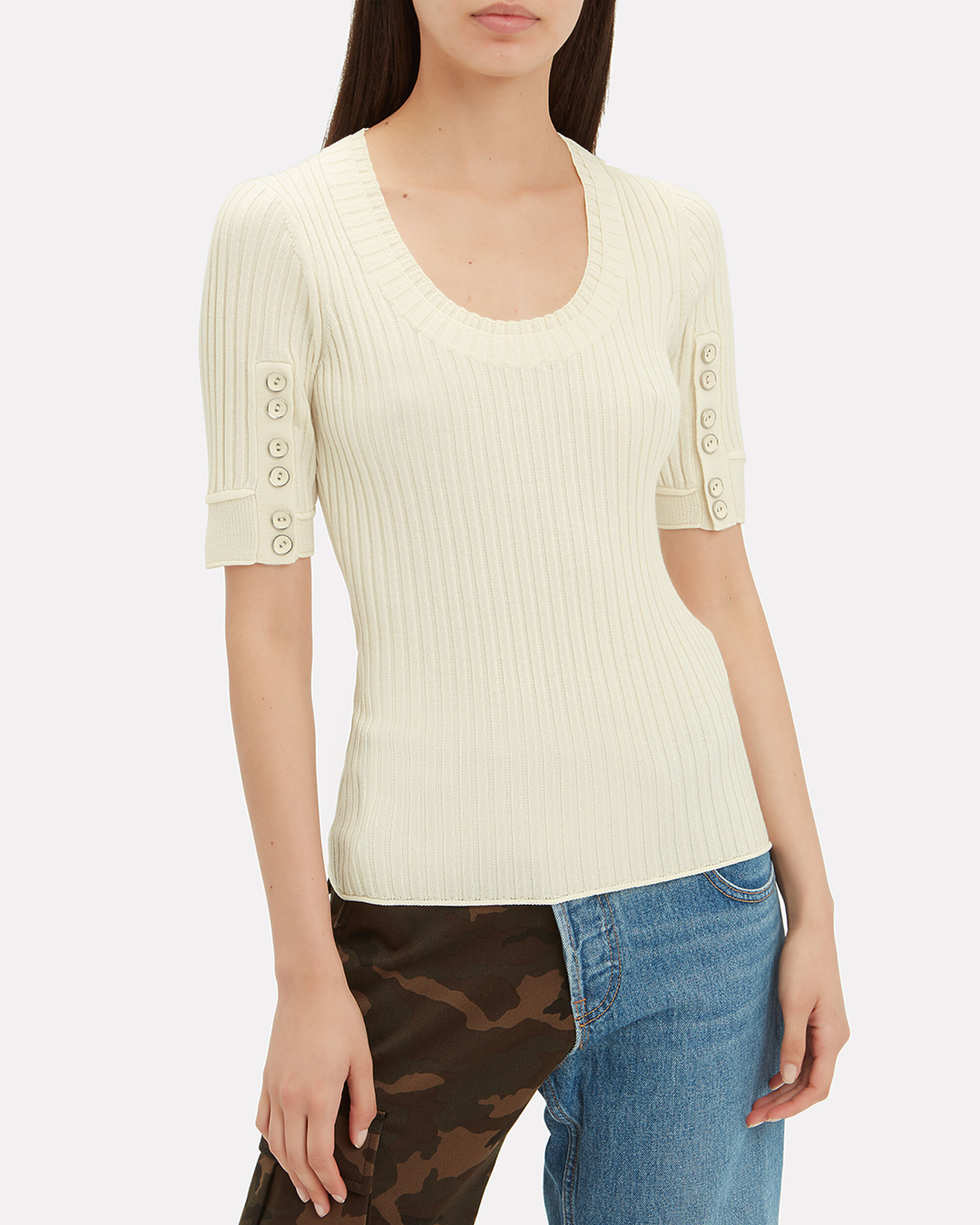 Ribbed Button Sleeve Top, IVORY, hi-res