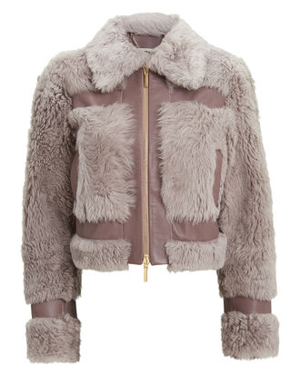 Fleeting Shearling Cropped Jacket, LILAC/GREY, hi-res