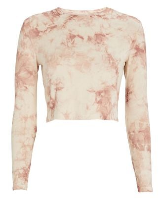 Long Sleeve Tie-Dye Crop Top, BEIGE/BLUSH, hi-res