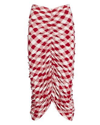 Shirred Gingham Jersey Bodycon Skirt, , hi-res