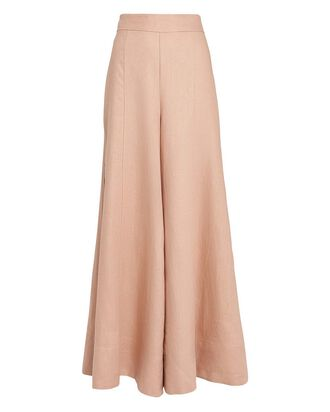 Savannah Flared Linen Palazzo Pants, DESERT ROSE, hi-res