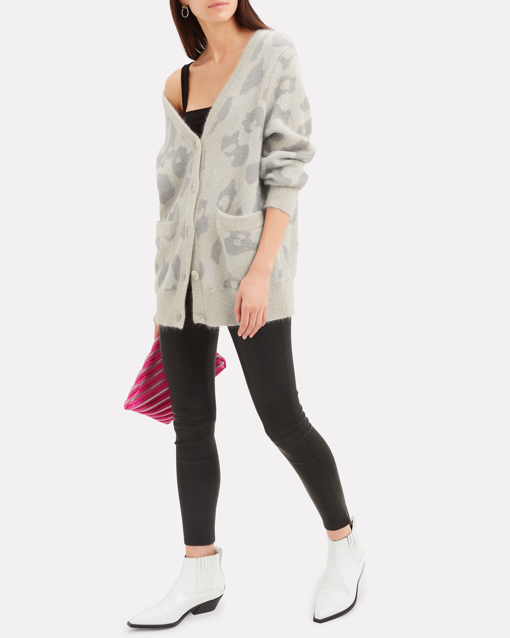 Leopard Print Cardigan, LIGHT GREY, hi-res