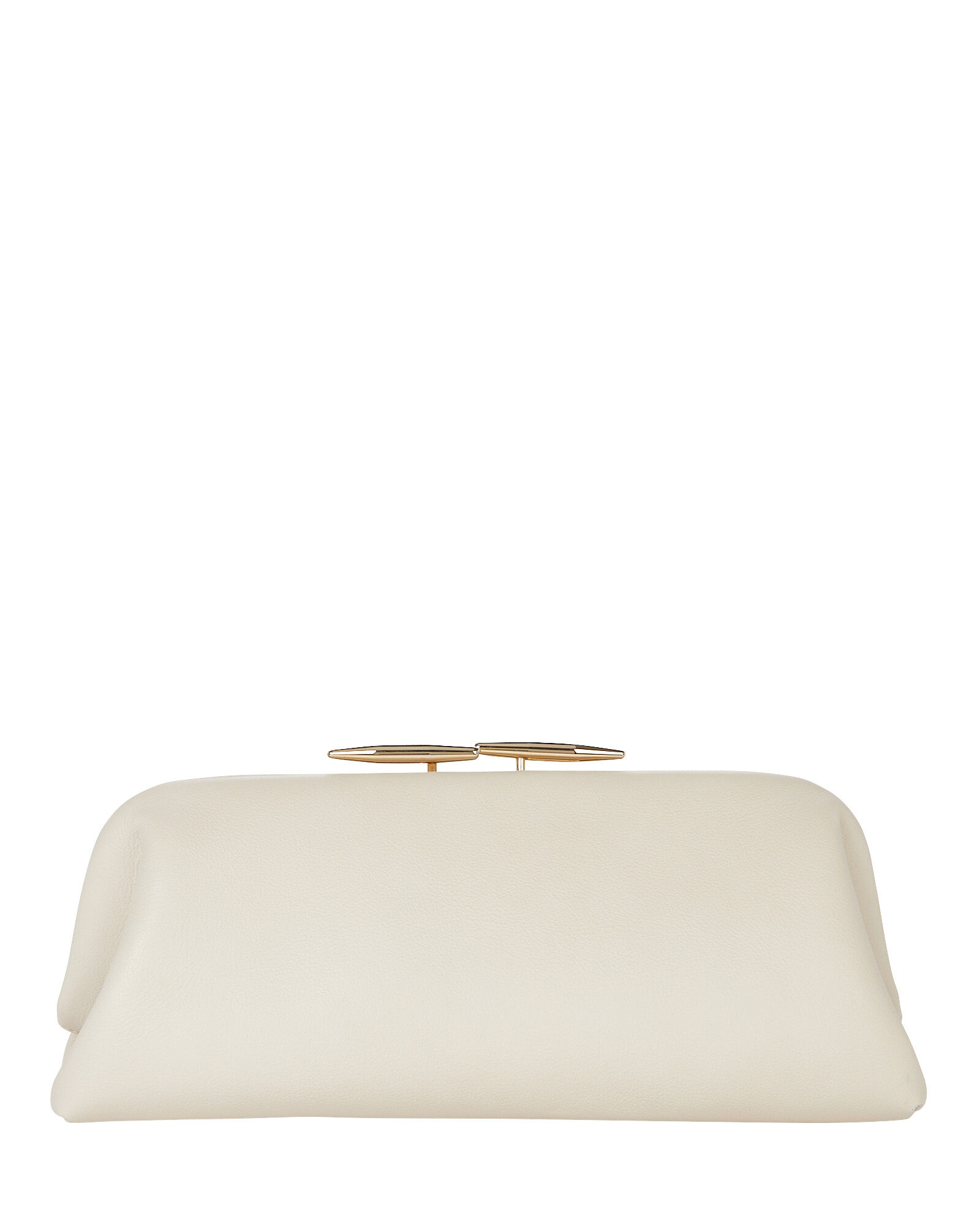 Oyster Leather Pouch Clutch, WHITE, hi-res