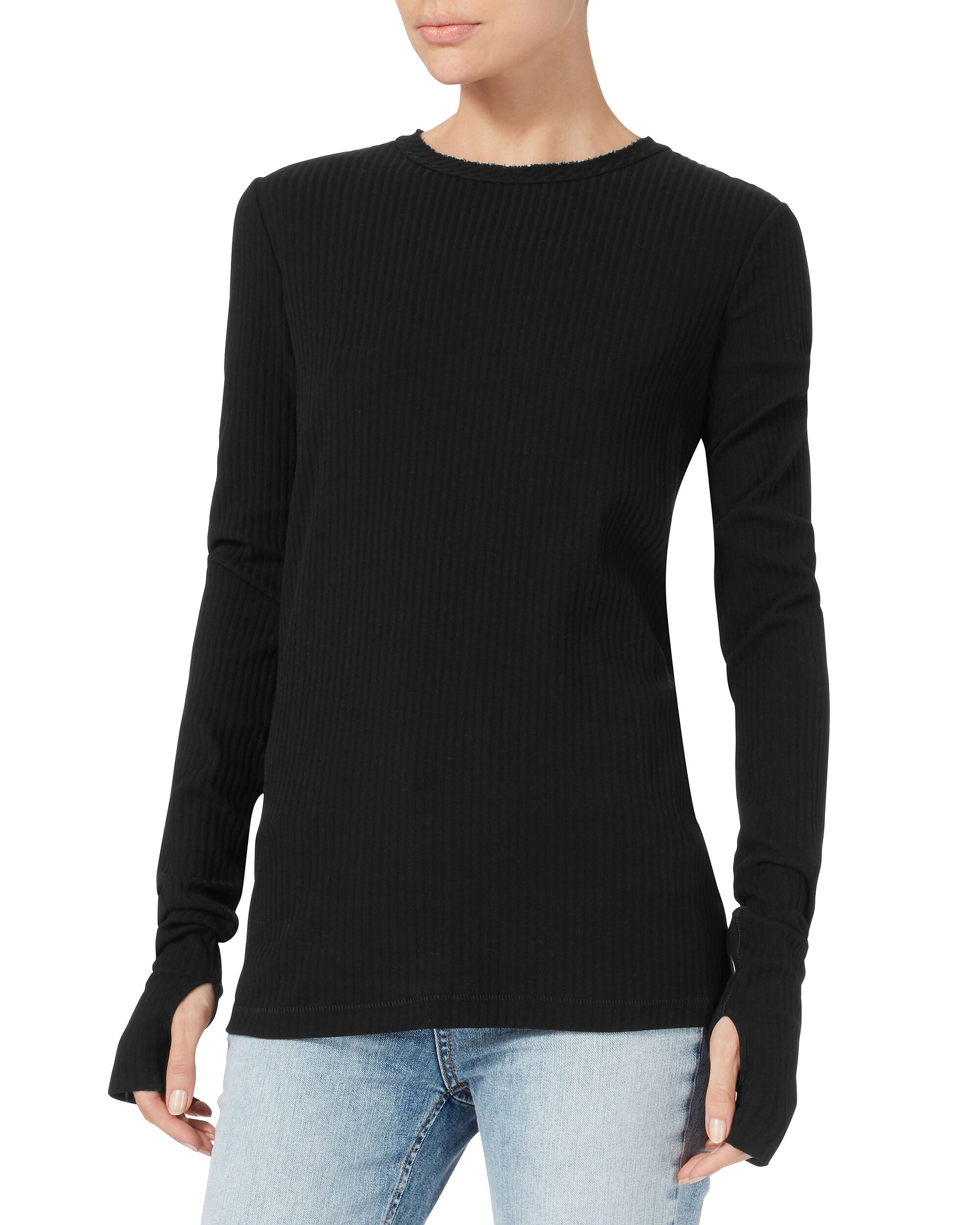 Thumbhole Rib Black Top, BLACK, hi-res